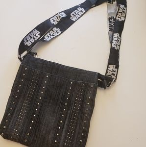 Embellished jean crossbody with star wars strap